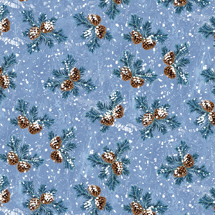 HG- Winter Cottage Ice Blue Pinecones