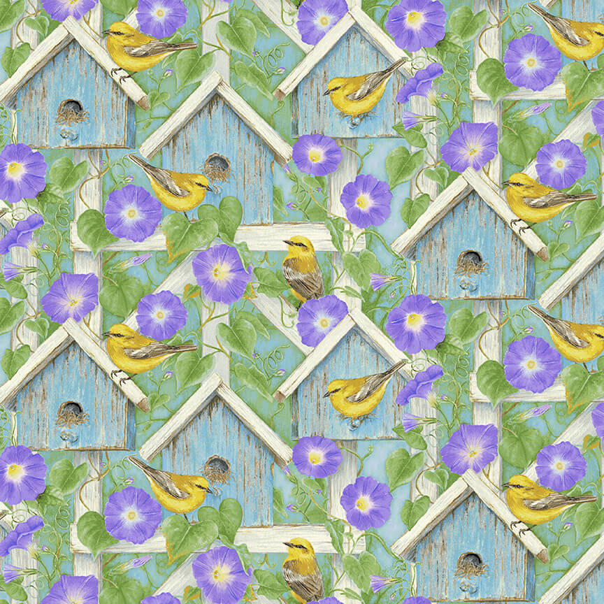 Scenic Fabric Hydrangea Birdsong Collection by Henry Glass Fabrics