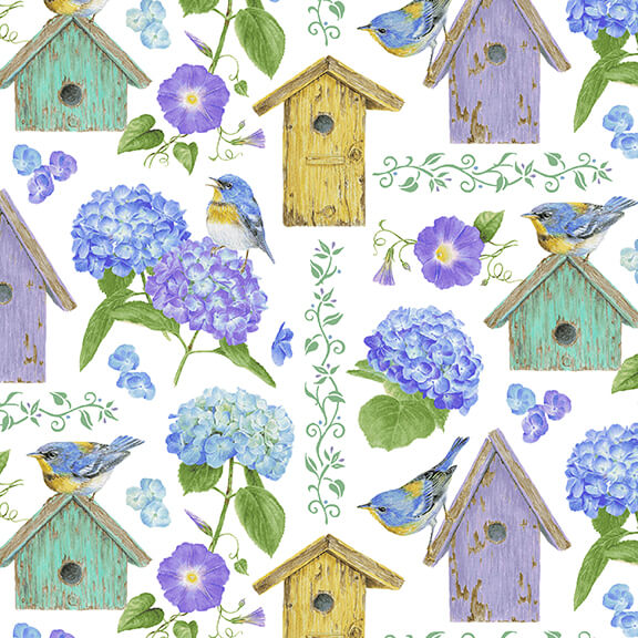 Hydrangea Birdsong - Birdhouses, Blue - by Jane Shaksy for Henry Glass Fabrics