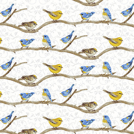 Birds on a Branch Fabric Hydrangea Birdsong Collection by Henry Glass Fabrics