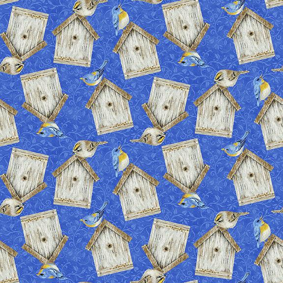 Hydrangea Birdsong - Tossed Birdhouses, Blue - by Jane Shaksy for Henry Glass Fabrics