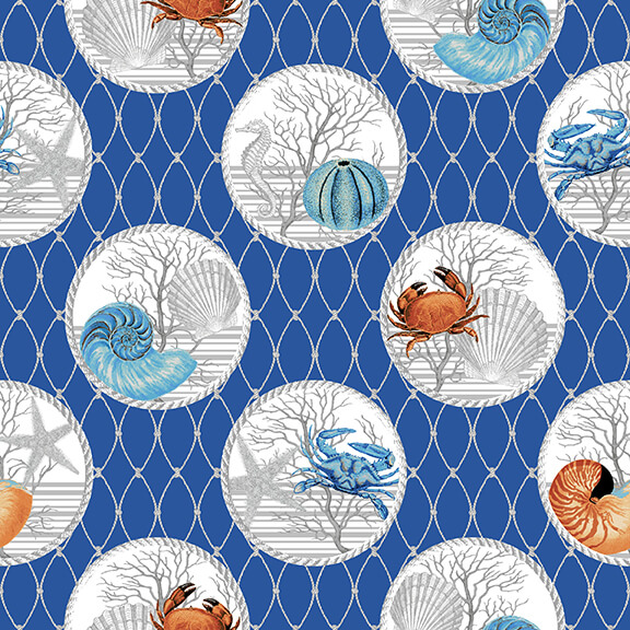 Crustacean in a Circle on Fishing Nets on Blue:  Calming Tides by Jessica Mundo for Henry Glass
