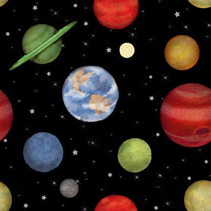 Space Walk - Planets Black