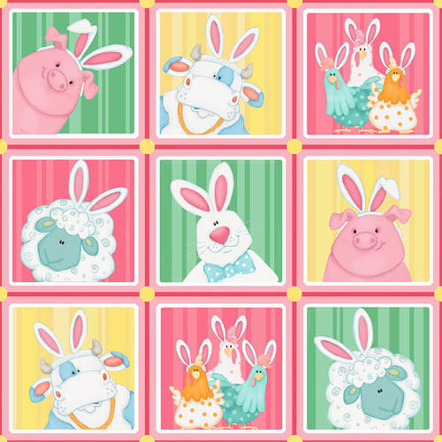 Farm Animals Wearing Bunny Ears in Squares:  Down on the Bunny Farm by Shelly Comiskey for Henry Glass