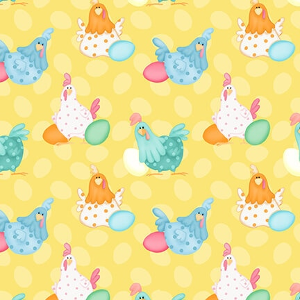 Chickens with Colorful Eggs on Yellow:  Down on the Bunny Farm by Shelly Comiskey for Henry Glass