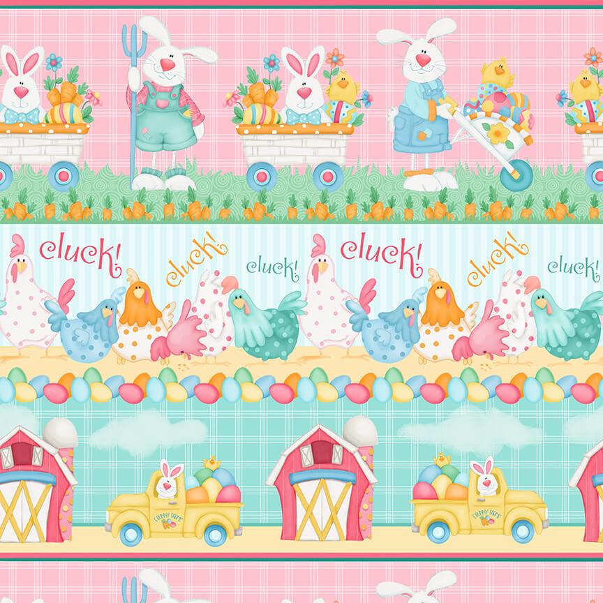 Henry Glass Down on Bunny Farm 1846-21  Pink/Multi Border Stripe