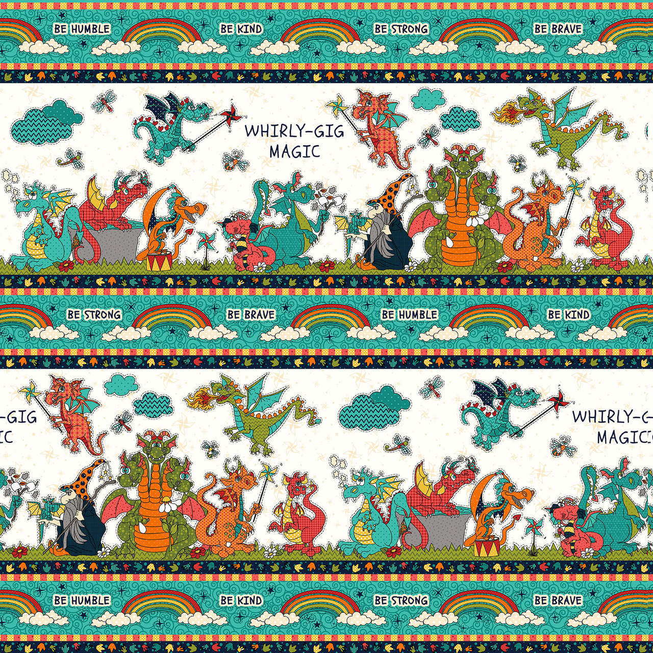 Whirlygig Magic Border Print White/Teal