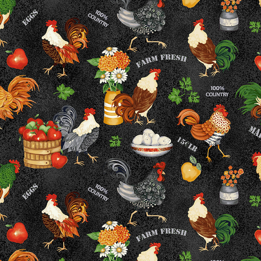 Farm Raised Roosters and Chickens 1973-99 BLACK