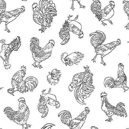 Black Outlines of Chickens on White:  Farm Raised by Gail Green for Henry Glass