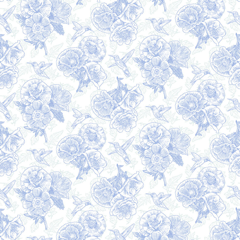 Poppy Meadows Linework Blue