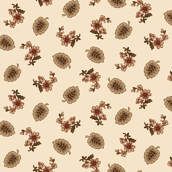 2105-33 Cream with flowers/leaves