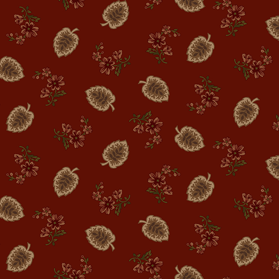 2105-88 Red with taupe leaves/flowers