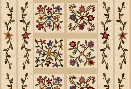 Folk Art Flannel 2 cream Panel