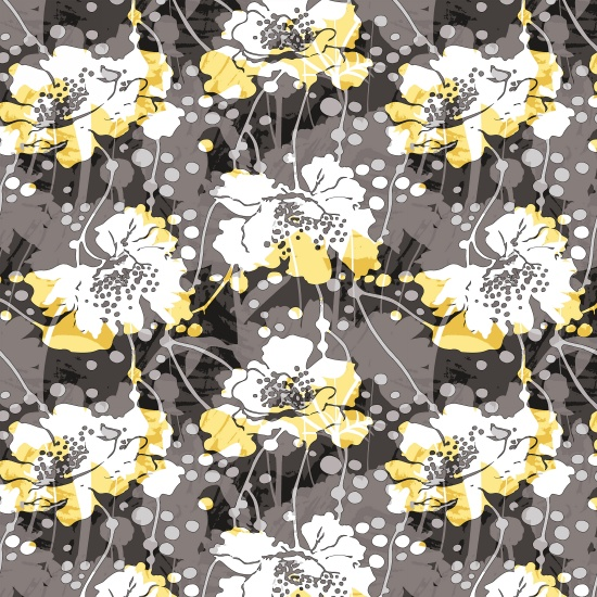 Black White & Citrus  2188-13 Large Modern Floral
