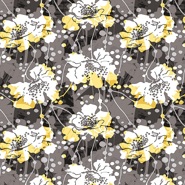 Black White & Citrus Large Modern floral