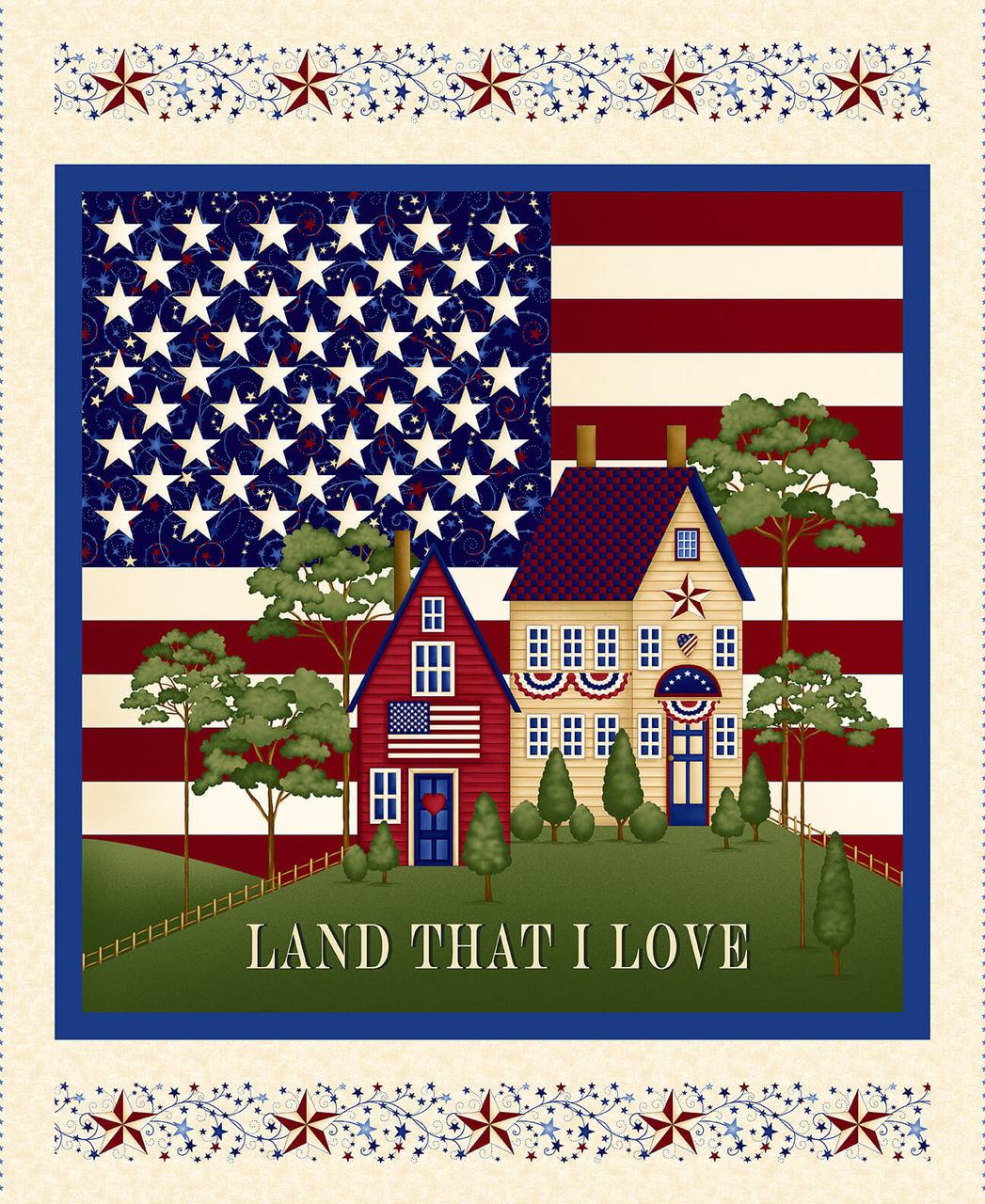 Panel - Henry Glass Land That I Love Banner Cream
