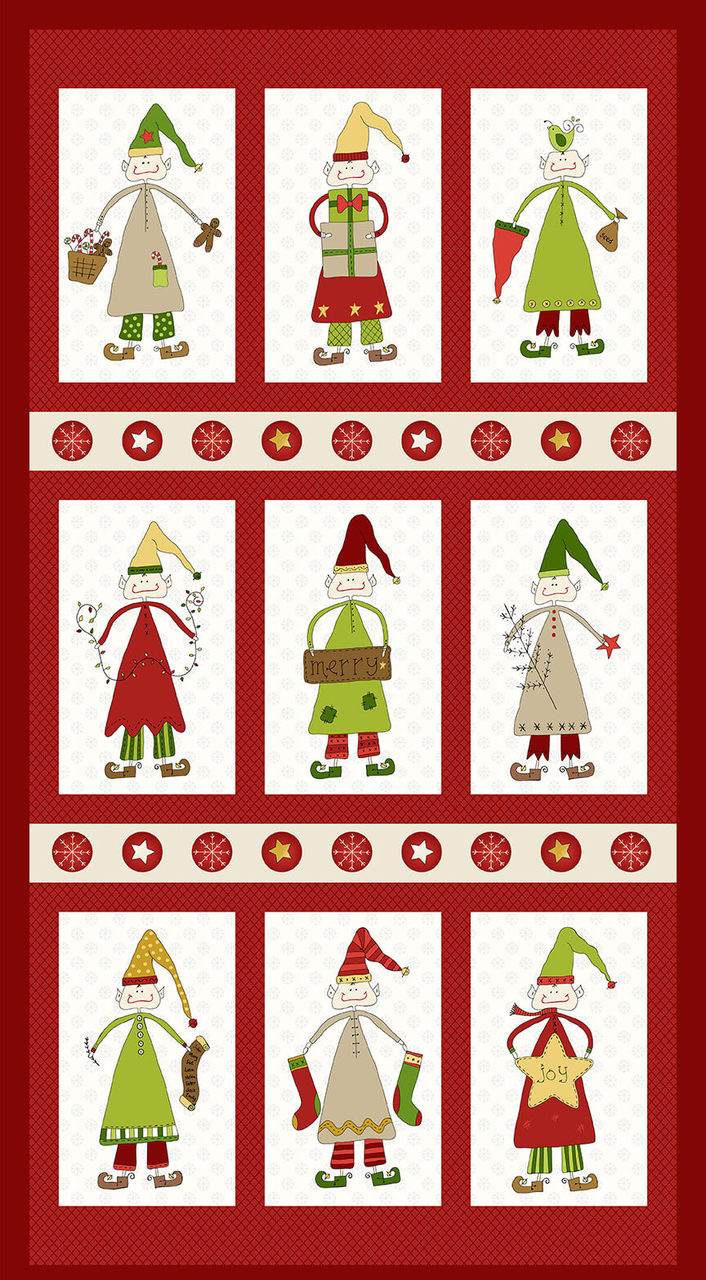Christmas Elves 2294P-88 Red