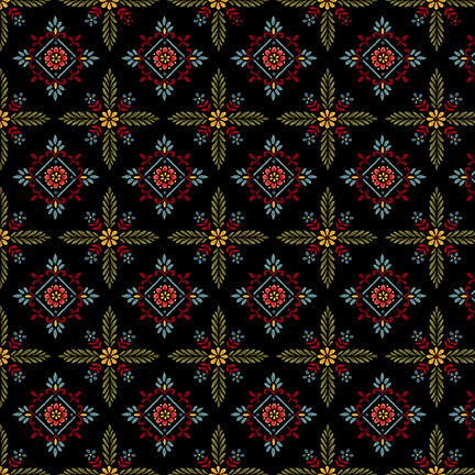 Count Your Blessings Black Foulard Hexes 2354