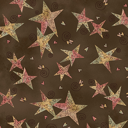 Henry Glass & Co Irish Blessing Swirly Stars on Brown