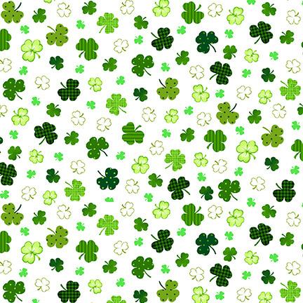 Irish Folk Green Shamrocks on White