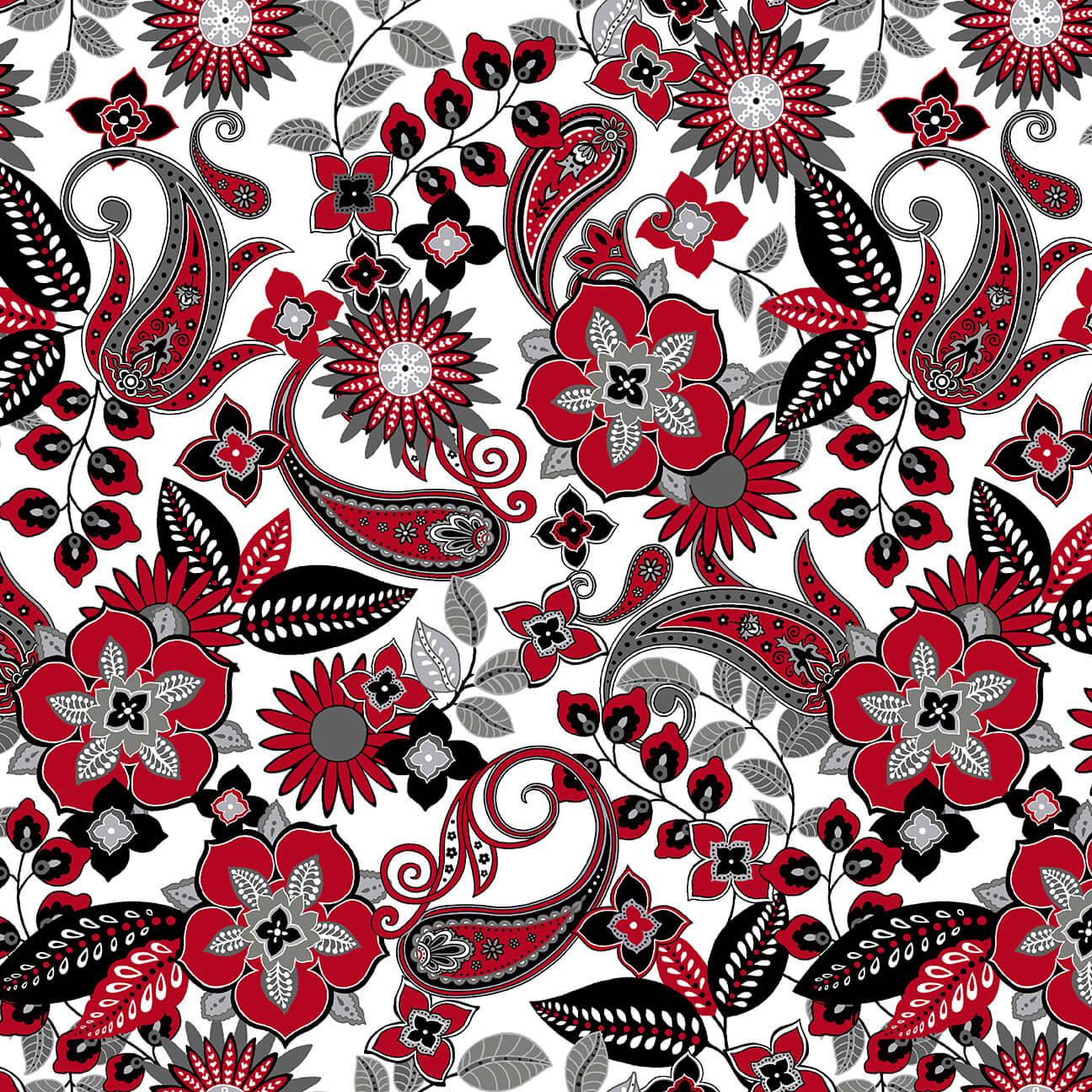 Black White & Red Hot 2439-1 WHITE-MULTI