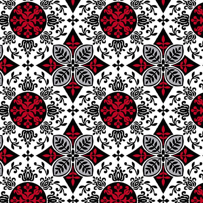 Black White & Red Hot Medallion White/Multi