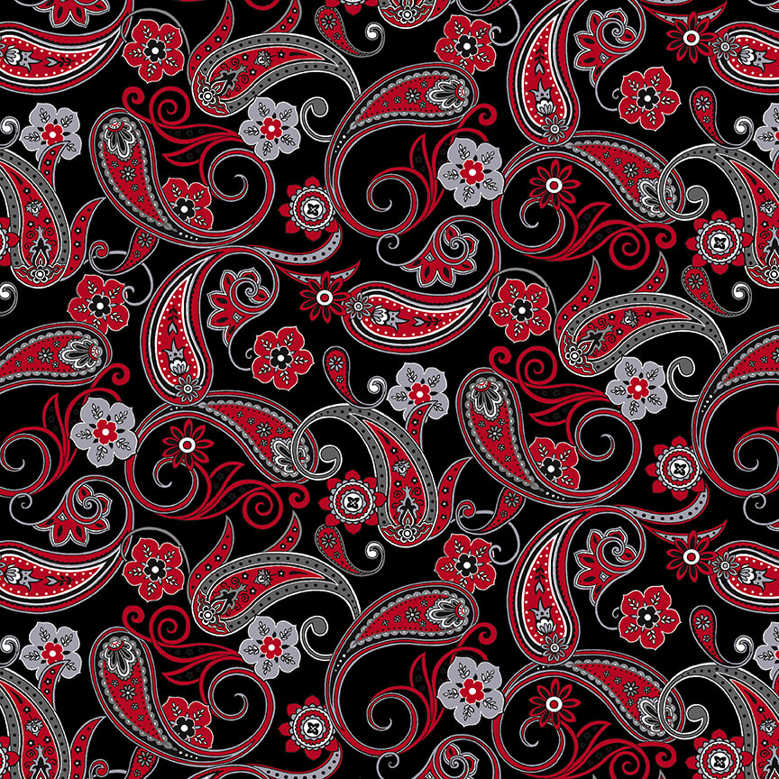 Black White & Red Hot Paisley Black - COMING SOON