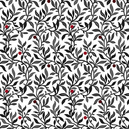 Black White & Red Hot Berry Vine White/Multi