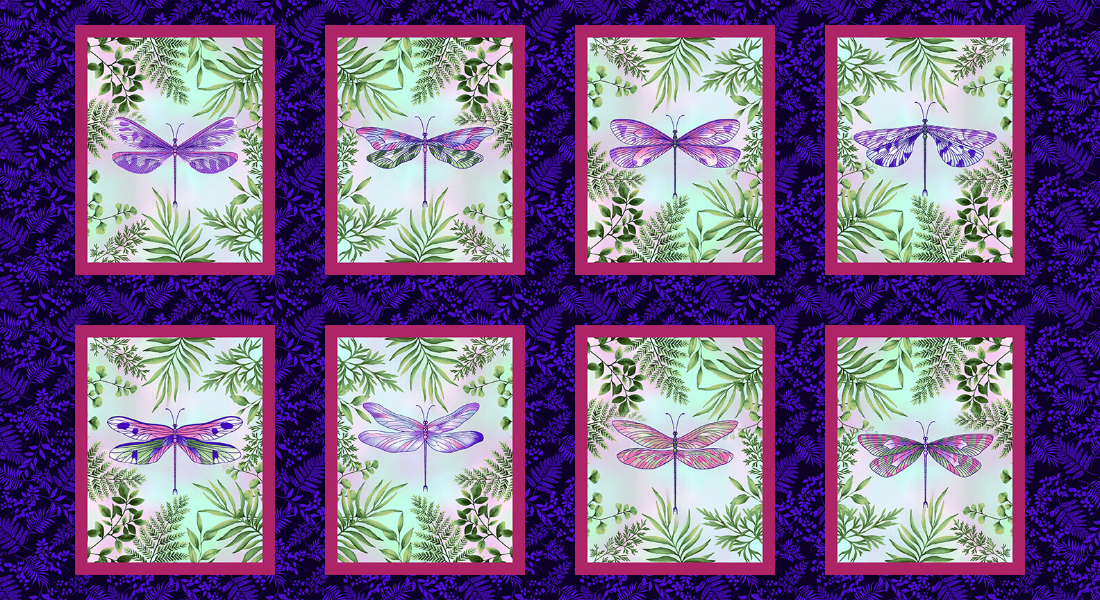 Dragonfly Garden Panel - 8 Blocks of Dragonflies - by Color Principle for Henry Glass Fabrics