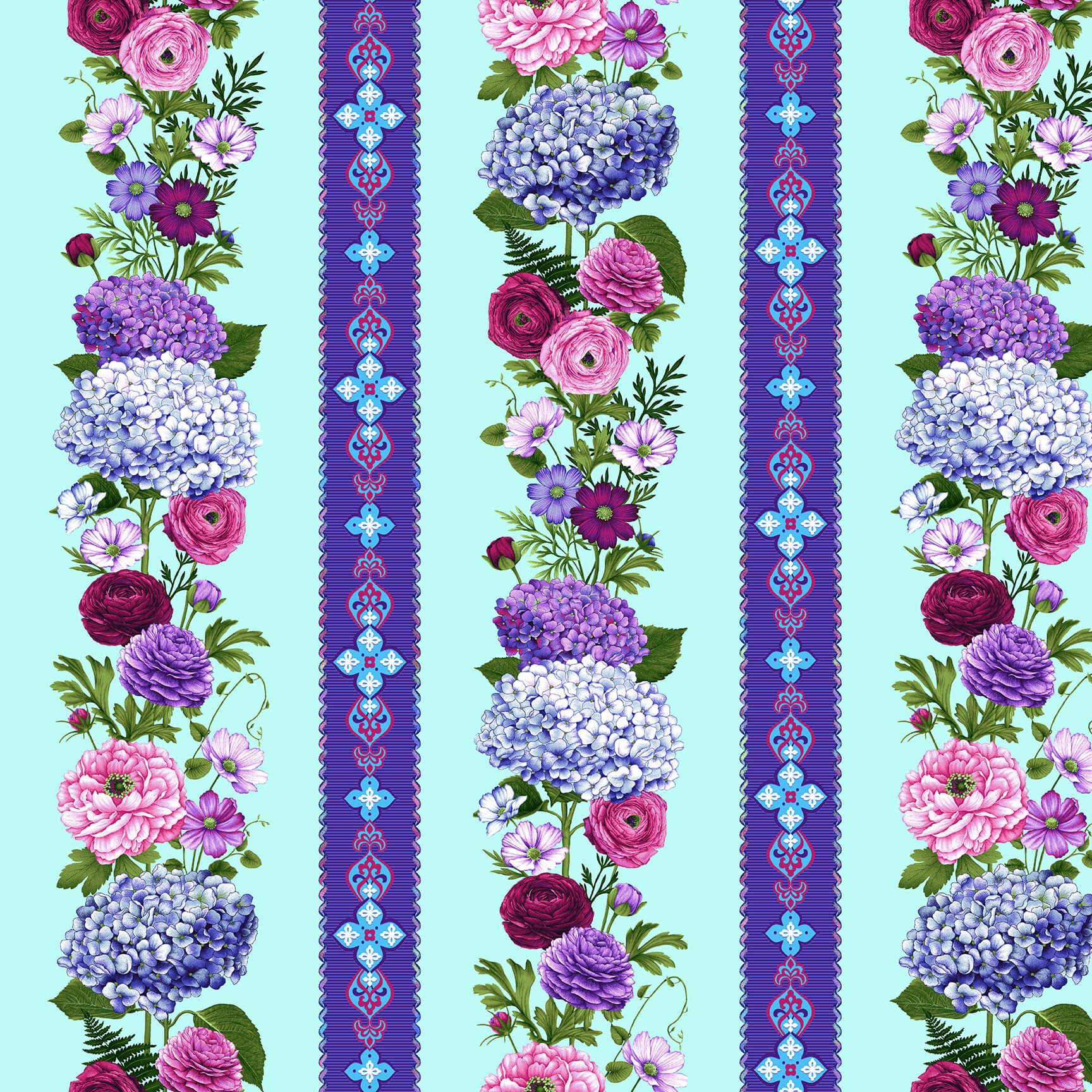 SPECIALTY FABRICS:  Hydrangea and Floral Stripes on Light Aqua:  Dragonfly Garden by Color Principle for Henry Glass & Co.
