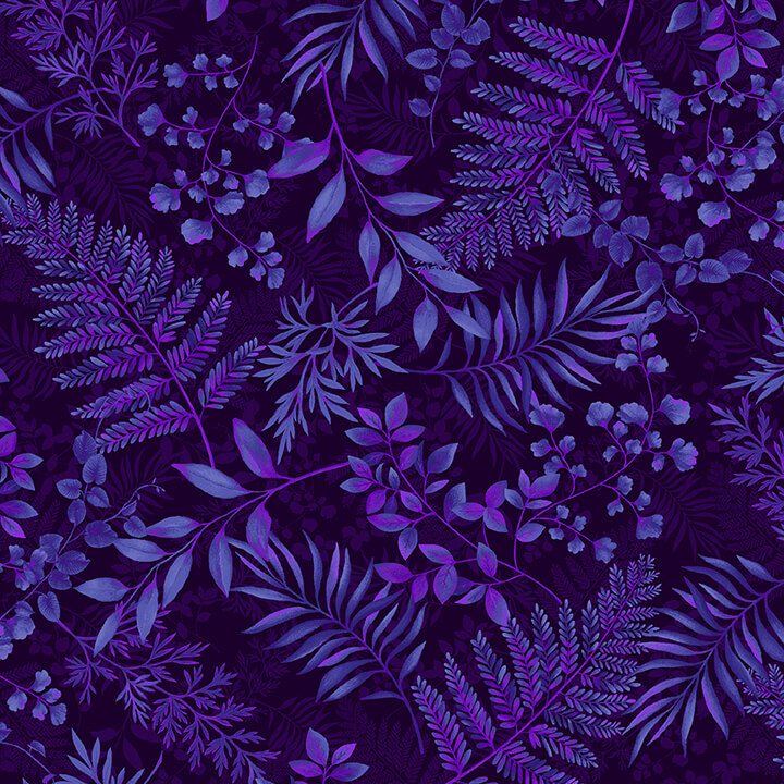 SPECIALTY FABRICS:  Blue and Purple Vines and Leaves on Dark Background:  Dragonfly Garden by Color Principle for Henry Glass & Co.