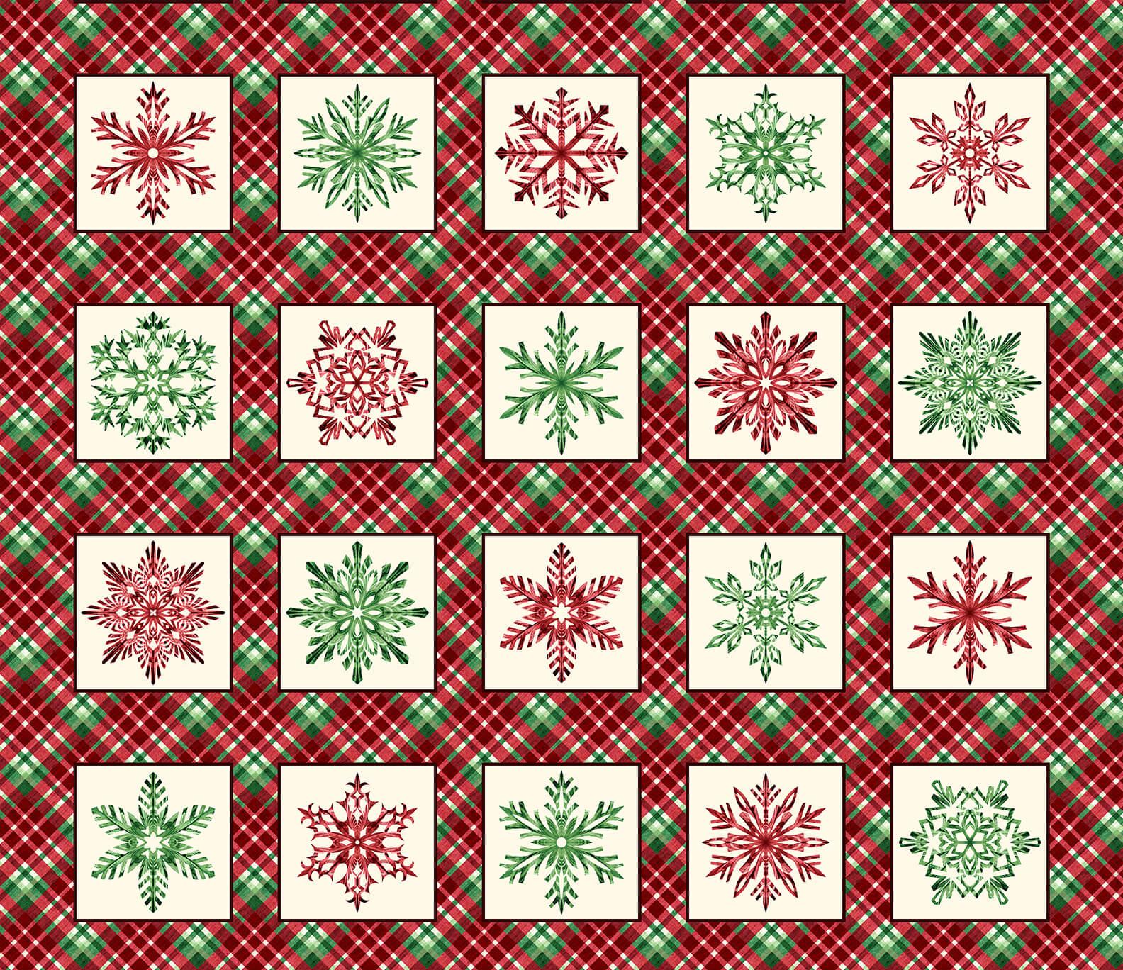 Hometown Holiday Snowflake Blocks Red 1 yard Repeat