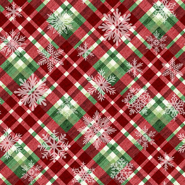 Hometown Holiday Red Snowflake Plaid
