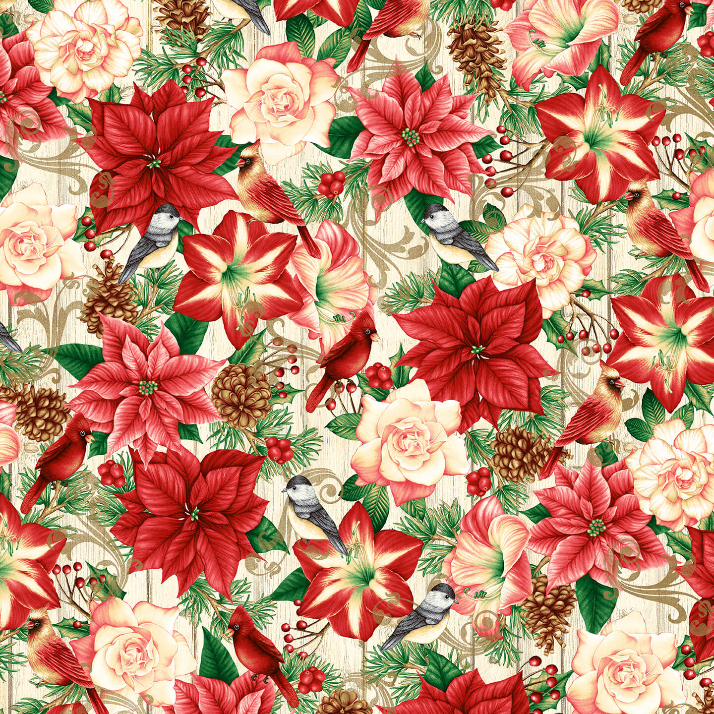 Cream Cardinals and Winter Flowers