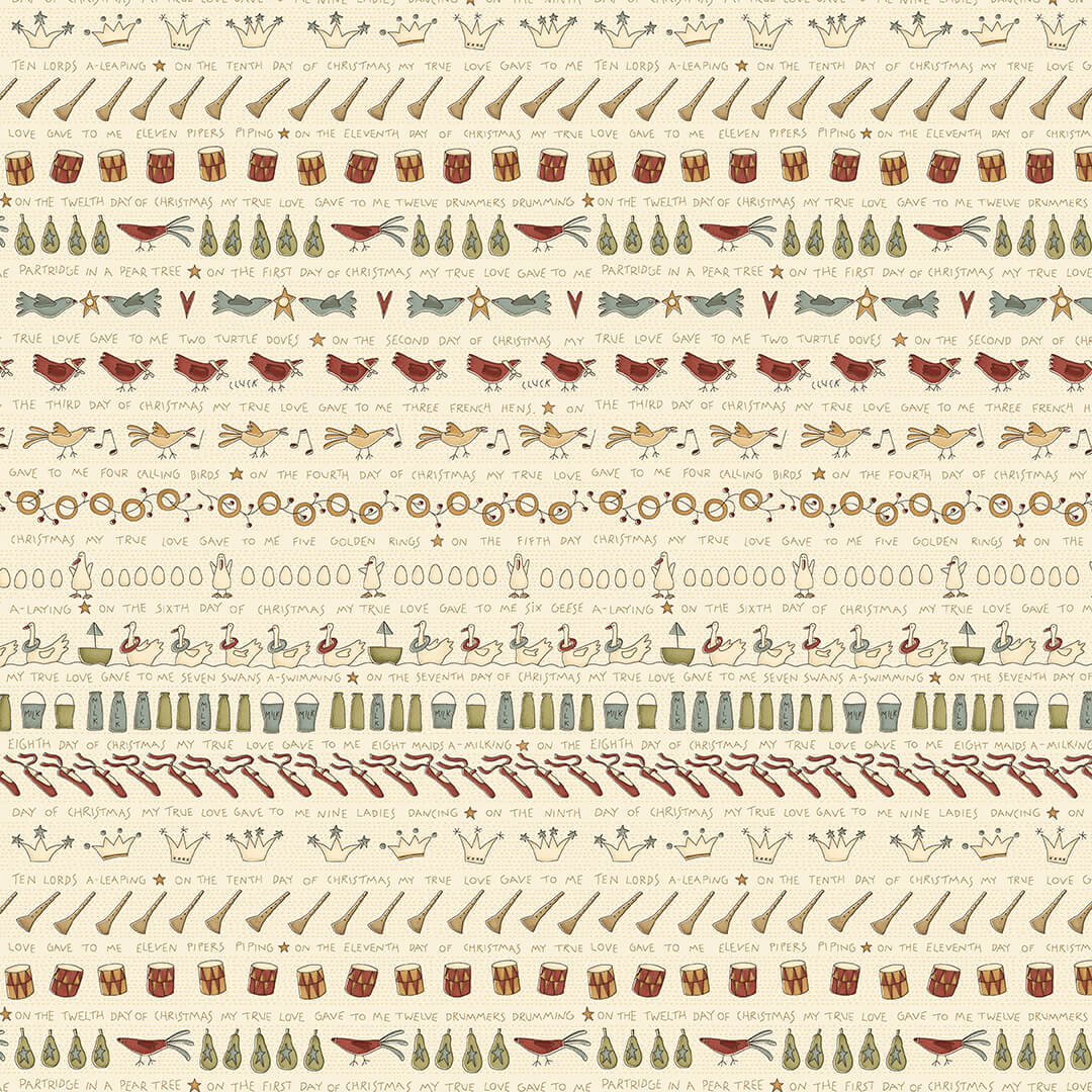 12 Days of Christmas Stripe Song on Cream:  On the 12th Day by Anni Downs of Hatched and Patched for Henry Glass & Co.