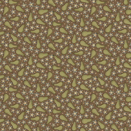 Pears on Brown:  On the 12th Day by Anni Downs of Hatched and Patched for Henry Glass & Co