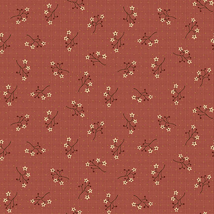 Starflower Sprigs on Coral:  On the 12th Day by Anni Downs of Hatched and Patched for Henry Glass & Co.