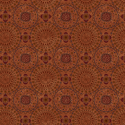 Red and Rust Medallions on Rust:  Garden Path - Plant Kindness by Janet Nesbitt for Henry Glass & Co.