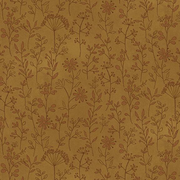 Plant Kindness Stitched Flower Stripe Gold 2500-44