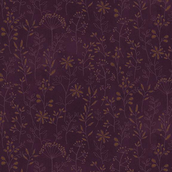 Purple Stitched Flower Stripe:  Plant Kindness by Janet Nesbitt for Henry Glass & Co.