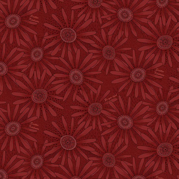 Red Tonal Daisy:  Plant Kindness by Janet Nesbitt for Henry Glass & Co.