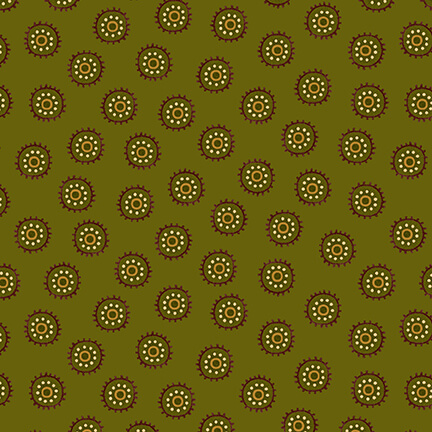 Autumn is Calling - 2520-66 Green Circle Dots