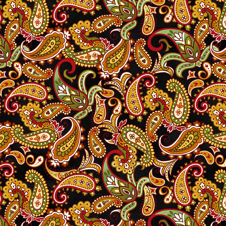 Autumn Calling - Paisley, Black - by Color Principle for Henry Glass
