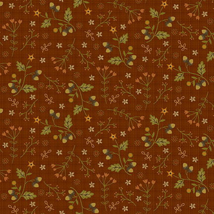 Acorns and Flowers on Rust Orange:  Moonshine by Jan Mott for Henry Glass and Co.