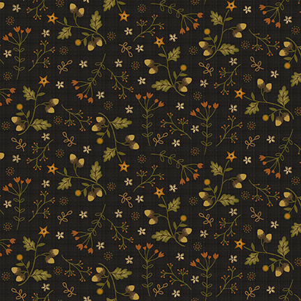 Acorns and Flowers on Charcoal Gray:  Moonshine by Jan Mott for Henry Glass and Co.