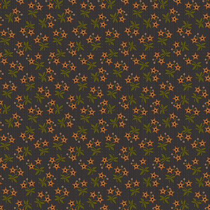 Star Flowers on Charcoal Gray:  Moonshine by Jan Mott for Henry Glass and Co.