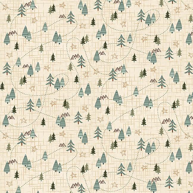 Flannel - Folk Art IV -  Creamw/trees