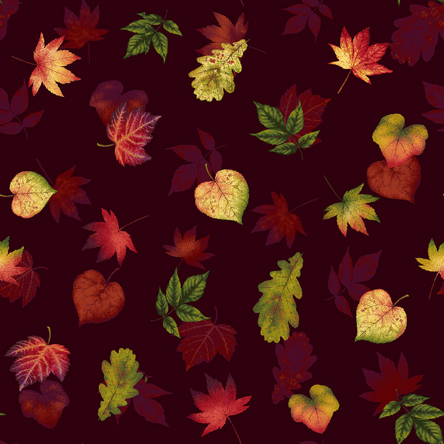 Pumpkin Harvest Burgundy Leaf Toss