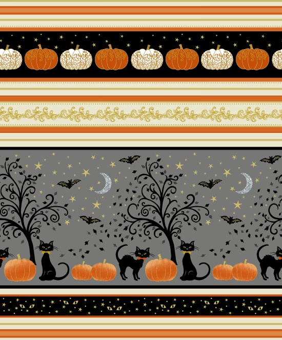 MIDNIGHT SPELL-METALLIC STRIPES W/ HALLOWEEN PICS 6949M-39