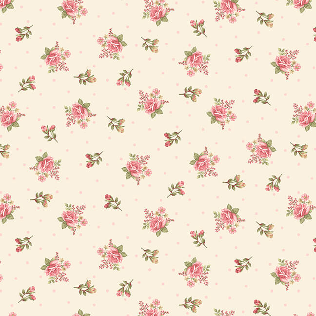 8696-44 Cream Small Floral Flannel